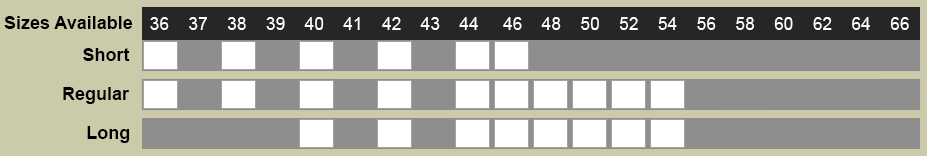 Antonio Cardinni Suit Size Chart