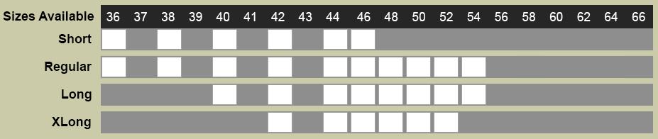 Caravelli Suit Size Chart