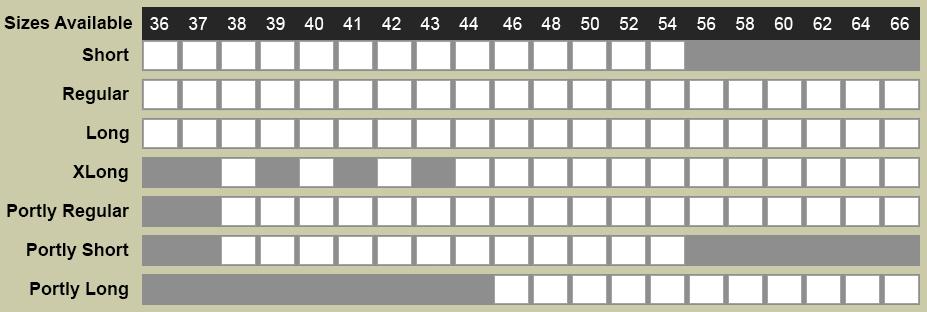 Henry Grethel Petrocelli Suit Size Chart