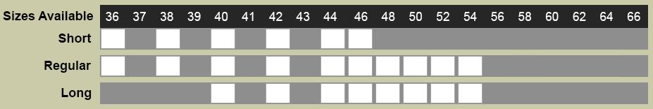 Rosetti Uomo Suit Size Chart
