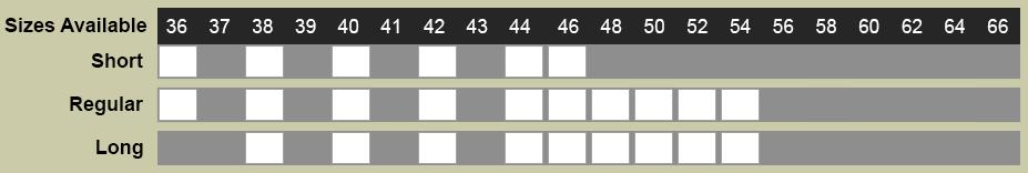 Carvelli Tux Size Chart